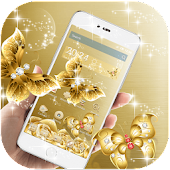 HD Gold Butterfly Rose  theme