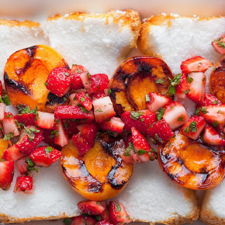 Apricots and Herbed Strawberries with Angel Food Cake