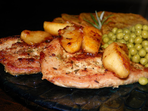 Herb Crusted Pork Loin Chops And Caramelized Apple Recipe