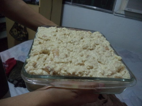Mix it all together. My mom usually pours the batter to the shredded bread,...