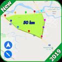 GPS distance calculator and gps area measurement icon