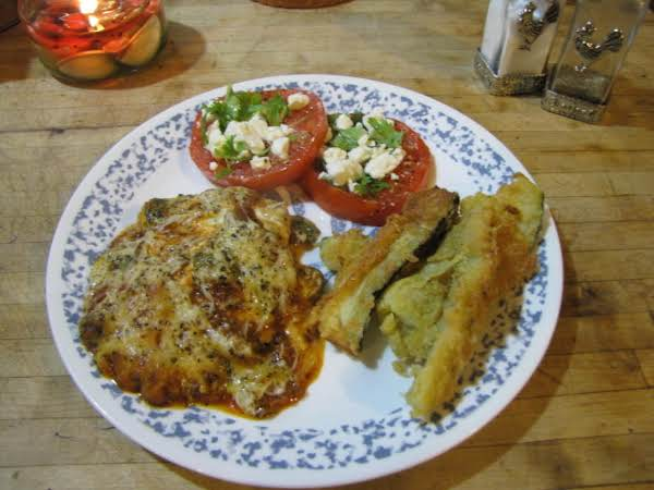Eggplant Parmesan With Fresh Tomatoes, Feta And Basil With A Side Of Fried Zucchini!