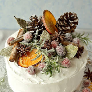 Gingered Christmas Fruitcake With Rustic Decorations.