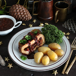 Mushroom and Chestnut Stuffed Seitan Roast with Gravy