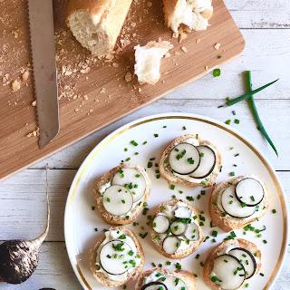 Garlic and Black Radish Crostinis.