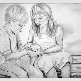 Boy, Girl & Puppy by Ingrid Anderson-Riley - Drawing All Drawing