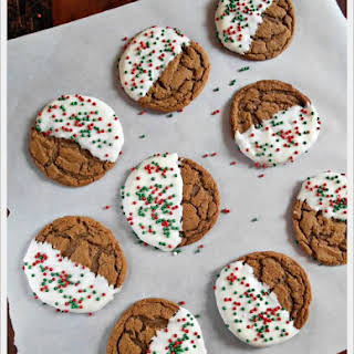 White Chocolate Dipped Chewy Gingerbread Cookies.