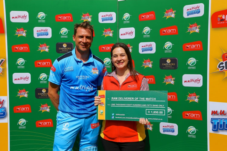 RAM Deliverer of the Match Dale Steyn of Multiply Titans during the RAM SLAM T20 Challenge match between Multiply Titans and VKB Knights at St George's Park on December 03, 2017 in Port Elizabeth, South Africa.