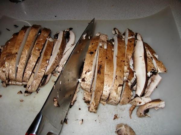 Slice mushrooms 1/2 inch thick.