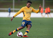 Luther Singh of SC Braga B in action during the Liga Ledman Pro match between CD Cova da Piedade and SC Braga B at Estadio Municipal Jose Martins Vieira on December 16, 2018 in Almada, Portugal.