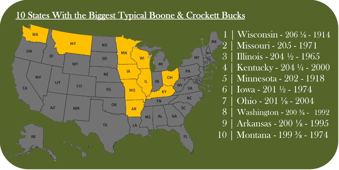 top 10 states with the biggest typical boone and crockett. The biggest whitetail deer