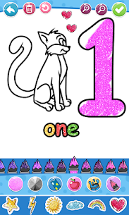 Glitter Number and letters coloring Book for kids 4