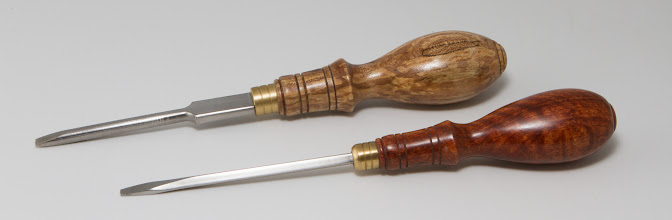 "Photo: Michael Blake 1 1/4"" x 8 1/2"" oval handle screwdrivers [spalted maple, beeswing narra]"