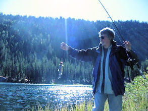 Photo: Jane catches at cutthroat at Lake Julius (Photo by Mary-Carter)