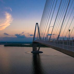 Sunset Bridge by Damon Hensley - Buildings & Architecture Bridges & Suspended Structures ( sunset, cooper river, charleston. sc )