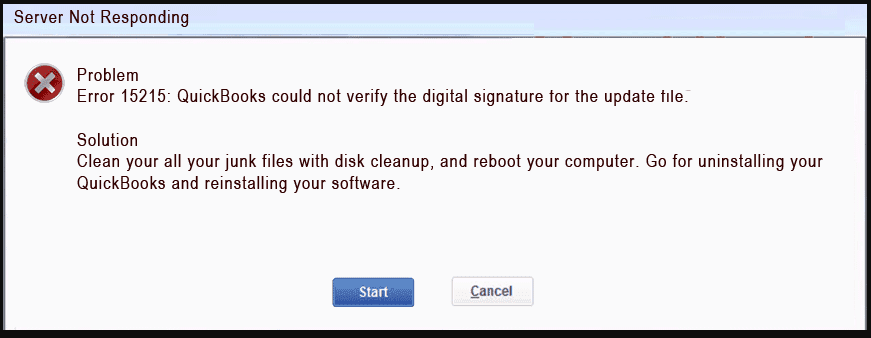 Server not responding : Problem Error 15215 : Quickbooks could not verify the digital signature for the update file
