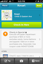 """Photo: I enjoy using Foursquare to """"check in"""" to places that I visit. I pulled out my iPhone and did a check in to say I was shopping at Kmart for Easter. I was very surprised to see that there was a check-in special for Kmart! I think that's so cool that Kmart is using current social media tools to attract customers."""