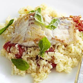 Lemony Fish with Tomato Risotto.