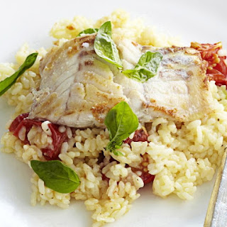 Lemony Fish with Tomato Risotto.