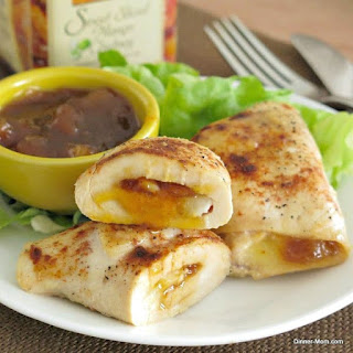 Mango Chutney Chicken and Brie Roll-ups.