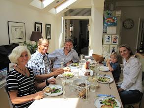 Photo: Arriving in Chiswick, London on Elisabeth's birthday on 9th July! Diana, Stein, Hugh, Soren and Elisabeth.