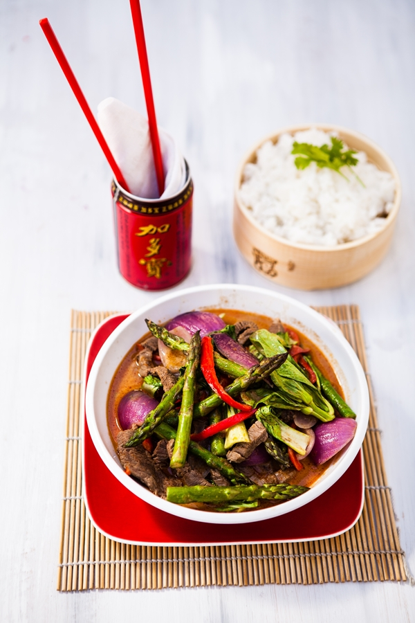 Thai red beef curry.