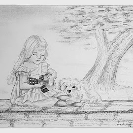 Girl, Guitar and Dog by Ingrid Anderson-Riley - Drawing All Drawing