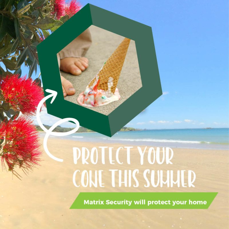 Matrix Security used clever summer icons to remind customers to stay safe during the holidays