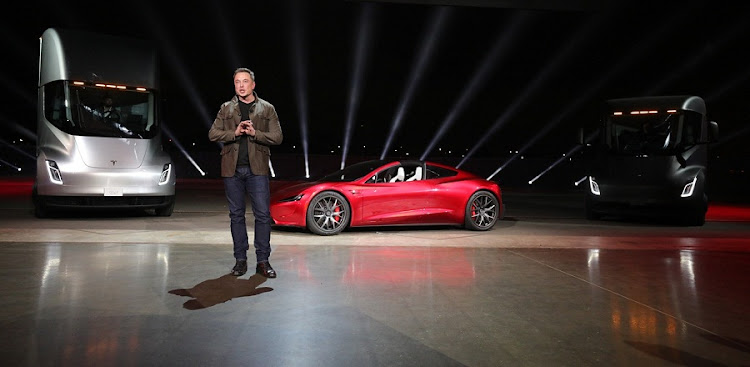 Tesla CEO Elon Musk introduces the car maker's truck, and a surprise update to the Roadster, at an event in Los Angeles on November 16 2017. Picture: SUPPLIED