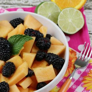 Cantaloupe & Blackberry Easy Fruit Salad with an Orange Ginger Lime Dressing