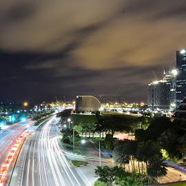 Roads outside Marina Bay Sands by Cris Lhh - City,  Street & Park  Skylines ( car headlights, mbs, long exposure lights, marina bay sands, long exposure, singapore, roads )