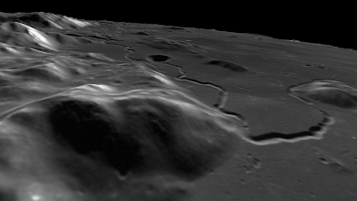 Photo: Hadley Rille, on the edge of Mare Imbrium, site of the landing of Apollo 15.
