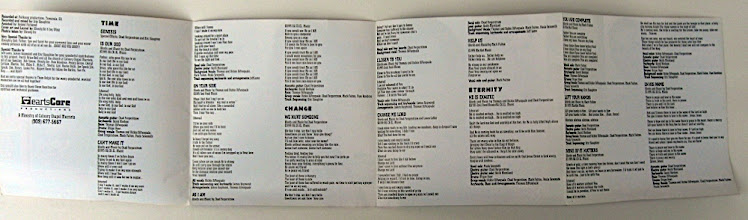 Photo: This is the inside of the CD art, with all the lyrics. You can see the HeartsCore logo (enlarged on another slide, later in this presentation).