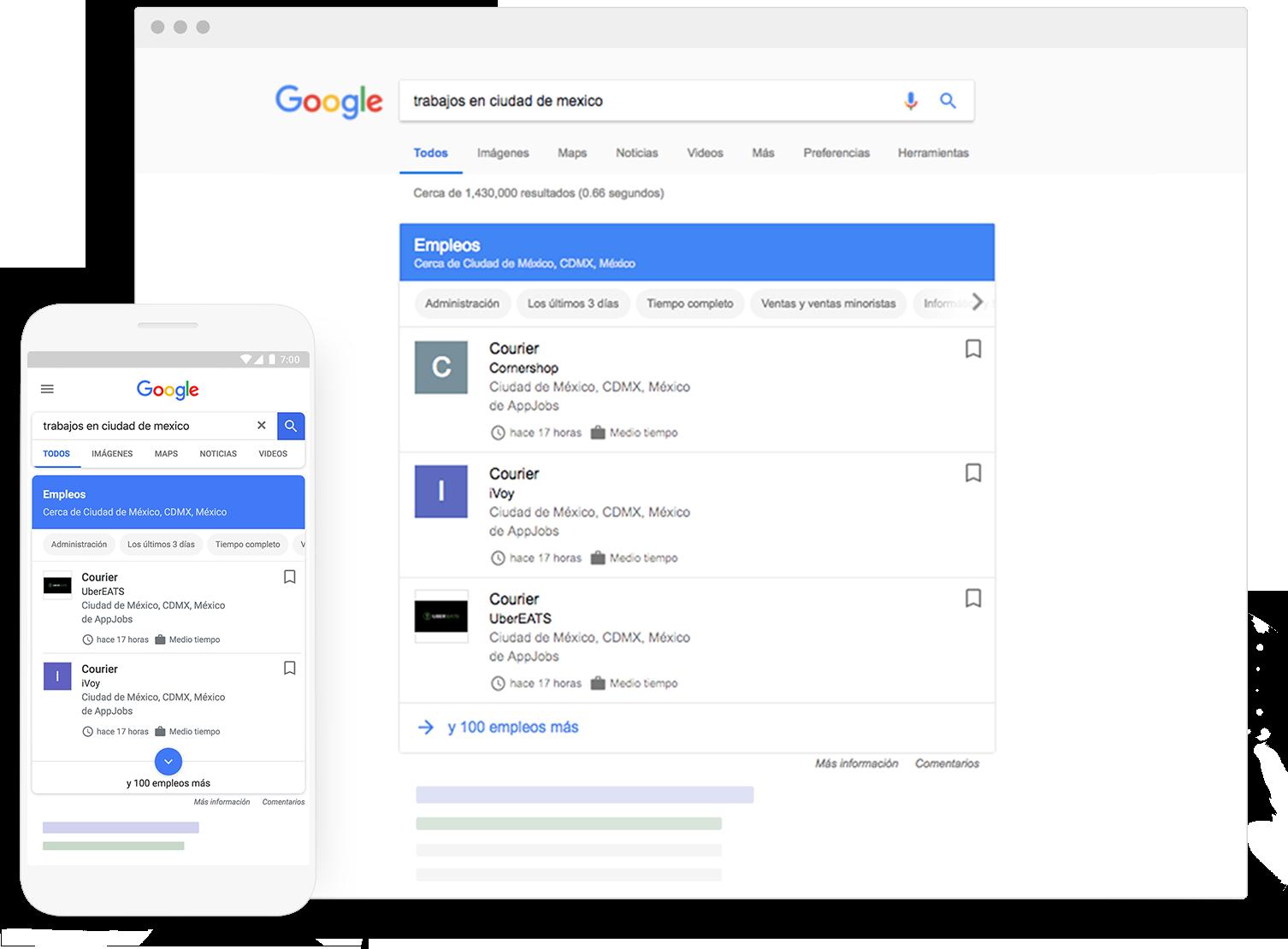 Muestra tus publicaciones de empleo a millones de personas que buscan trabajo en Google todos los días.