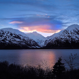 Portage Lake by Patricia Phillips - Landscapes Travel ( alaska portage lakes dusk )