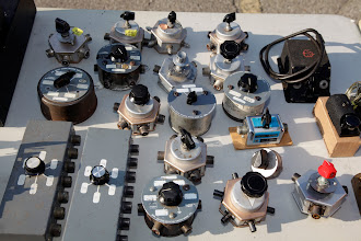 Photo: A wide assortment of coaxial switches for sale in the flea market.