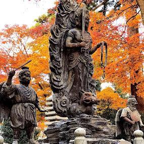 On top of MT TAKAO by Bill      (THECREOS) Davis - City,  Street & Park  Historic Districts ( #statue, #woodenstatue, #kappa, #tengu, #mounttakao, #hachioji, #japan, #temple,  )