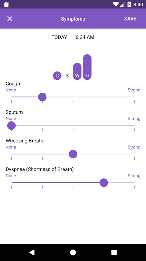 Asthma Tracker: screenshot