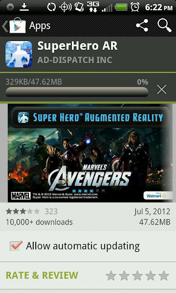 Photo: Marvel's Avengers is coming to Blu-Ray/DVD on September 25, 2012. Walmart has created a Super Hero Augmented Reality app and I could not wait to get it on my phone. I had never heard of Augmented Reality before so I had to go watch the training video {http://bit.ly/NS4SyI}