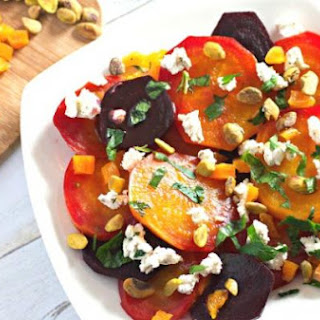 Beet Salad with Goat Cheese, Apricots, and Pistachios.