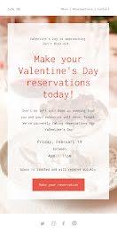Valentine's Day Reservations - Medium Email item
