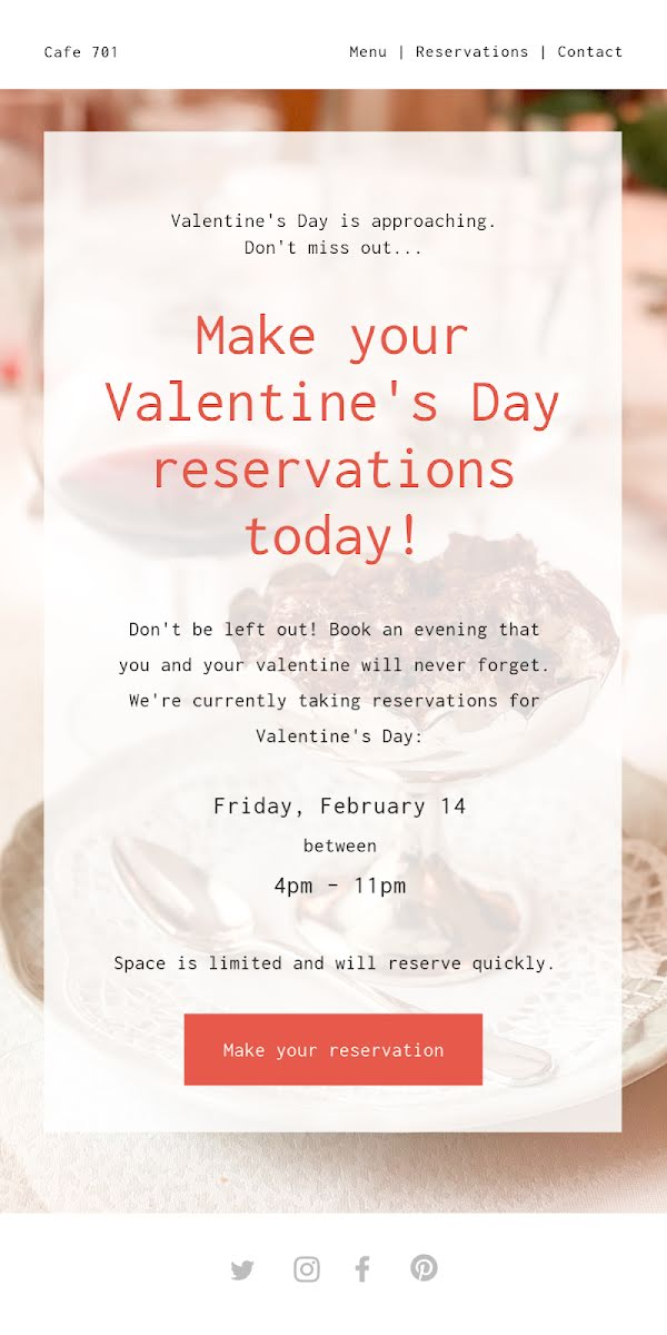 Valentine's Day Reservations - Valentine's Day Template