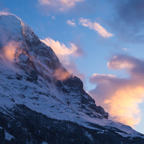 Grindelwald, Sunset, February 2018 by Augustin Anic - Landscapes Cloud Formations ( winter, mountain, cold, sunset, evening )