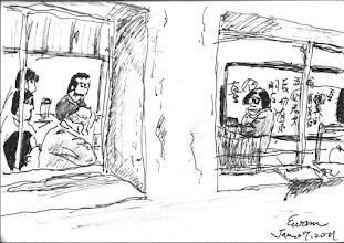 Photo: 勒戒所上課2011.1.17鋼筆 一直以來監所以開放的方式接納所有有心人士入內進行教化活動,於是有心的多,真正專業的少,在我看來很難收到實質成效,記得第一次來勒戒所時我就嚇壞了,上課的老太太從人家祖宗八代開始罵起,一直罵,足足罵了有半個多鐘頭,台下的受勒戒人多是打瞌睡,要不就是自顧自的聊天看書,這樣到底是在助人?還是自己過乾癮?還是…造業…