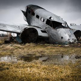 by Erik Lykins - Transportation Airplanes ( illinois, aircraft, model 18, ag crash, il, beechcraft, fuselage )