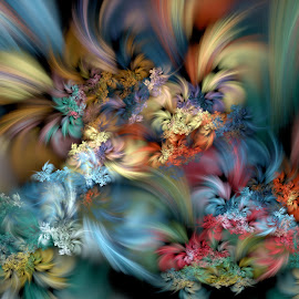Wildflowers in the Mist by Peggi Wolfe - Illustration Abstract & Patterns ( abstract, wolfepaw, muted, color, wildflower, fun, fractal, digital, mist )