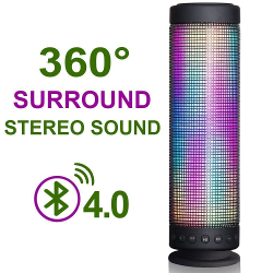 InaRock 10W Wireless Portable Bluetooth 4.0 DSP Speaker with Dazzle LED Light