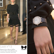 Photo: Seen at #JLCandAlexisMabille fashion show: the Rendez-Vous Night & Day watch.   Technical details: 18-carat White Gold, 699 diamonds, Automatic movement, Satin strap.  Reference: 3433407  More looks at: http://bit.ly/1eJ1YKh