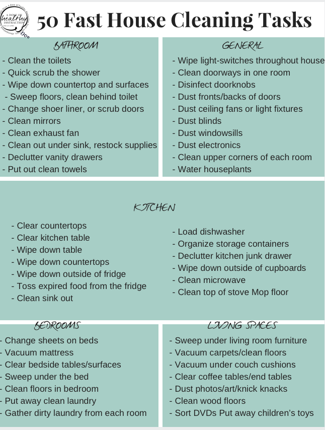 Fast House Cleaning Tasks