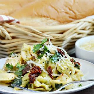 One Pot Creamy Chicken and Tortellini Pasta.